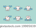 health cartoon tooth with dumbbell 19905639