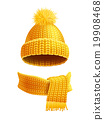 Knitted Hat And Scarf Flat Illustration  19908468