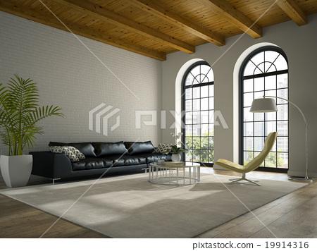 Stock Illustration: Interior of modern design loft with black sofa 3D rendering