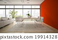 Interior of modern  loft with red wall 3D rendering 19914328