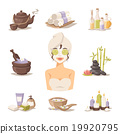 Spa beauty body care vector icons and woman in 19920795