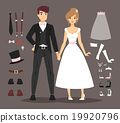 Cartoon wedding couple and ixons vector 19920796