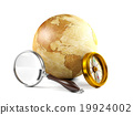 Globe with magnifying glass and compass 19924002
