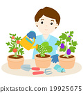 happy man watering plants cartoon vector 19925675