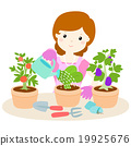 happy woman watering plants cartoon vector 19925676
