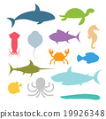 Vector set of sea marine fish and animals icons 19926348