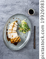 Swordfish Steak Teriyaki with vegetable on Plate 19926983
