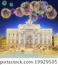Trevi Fountain at night with beautiful fireworks 19929505