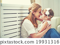 Happy loving family. mother and child playing,  kissing and hugg 19931316
