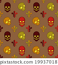 Skull vector, background lily flower, pattern 19937018