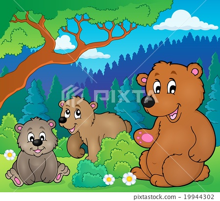 Bears in nature theme image 1 19944302