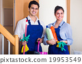 people with supplies ready for cleaning 19953549