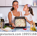 Family making pizza with vegetables 19955168