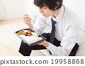 breakfast, bento from convienence store, businessman 19958868