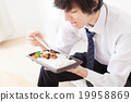 breakfast, bento from convienence store, businessman 19958869