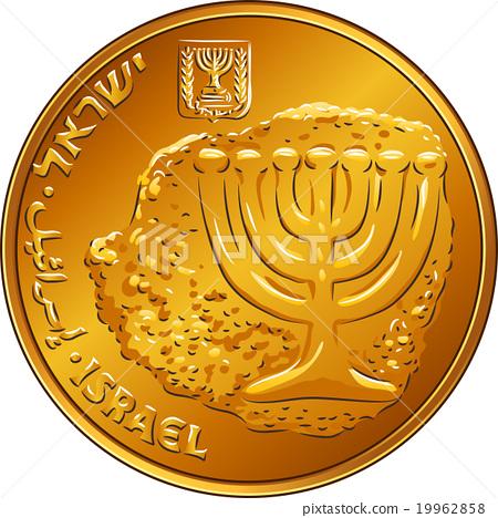 Vector Gold Israeli money ten agorot coin  19962858