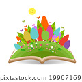 Spring with grass garden in the book 19967169