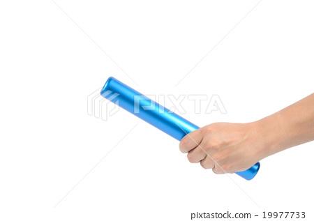 Thai man hand holding blue relay baton 19977733