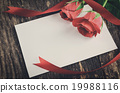 Blank white greeting card with red roses 19988116