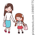 mother holding hand with her daughter 19989775