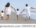 Mother Father Boy Children Family Walking on Beach 20009536
