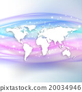 Silhouette of white world map with shadow on 20034946