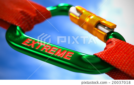 Extreme on Green Carabiner between Red Ropes. 20037018