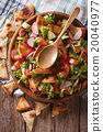 Traditional Arabic fattoush salad closeup on plate 20040977