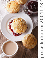 English scones with jam and tea with milk 20041282