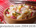 potato salad with radish and eggs macro on a plate 20041636
