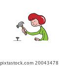 People woman hammer nail 20043478