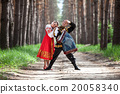 Couple on nature in russian national dress 20058340