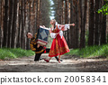 Couple of dancers in russian traditional costumes 20058341