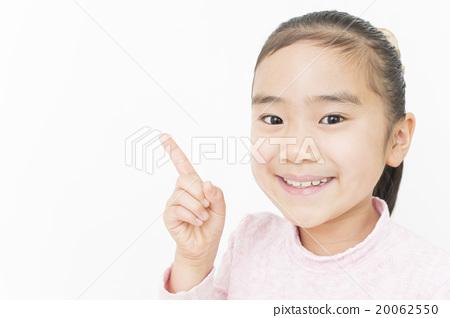 Girl pointing Fingering Elementary school girl Girls elementary school student 20062550