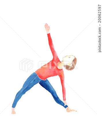 例證瑜伽三角姿勢 20062597