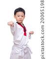 Asian taekwondo boy isolated on white background 20065198