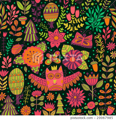 Vector forest design, floral seamless pattern  20067985