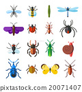 Insect icon flat set isolated on white background 20071407