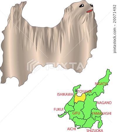 지도 동물 중부 도야마 개 20071492