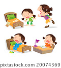 Cute girl crying cartoon many action. 20074369