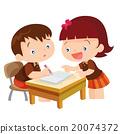 Cute girl teaching boy 20074372