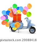 Vector Scooter with Gift and Balloons 20088418
