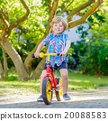 kid boy driving tricycle or bicycle in garden 20088583
