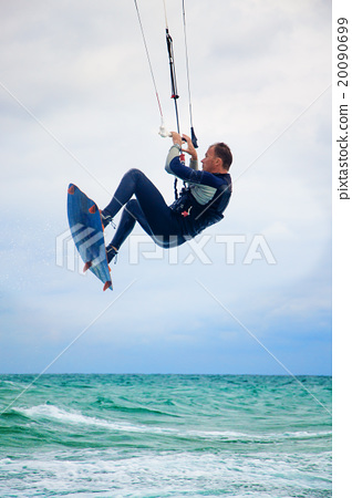 Kitesurfer in Black sea, Crimea 20090699