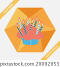 birthday cake flat icon with long shadow,eps10 20092953