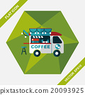 Coffee shop car flat icon with long shadow,eps10 20093925