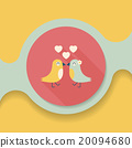 Valentine's Day lover bird flat icon with long shadow,eps10 20094680