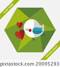Valentine's Day lover bird flat icon with long shadow,eps10 20095293