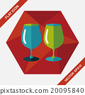 kitchenware glass cup flat icon with long shadow,eps10 20095840