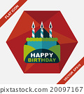 birthday card flat icon with long shadow,eps10 20097167